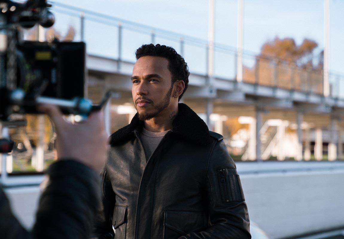 Lewis Hamilton sul set della nuova campagna Iwc