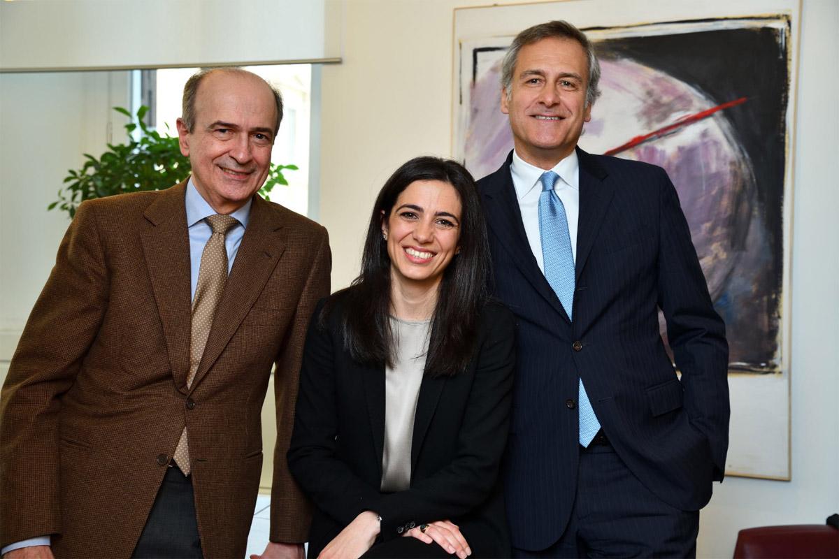 Giulia Mauro con il padre e Francesco Hausmann