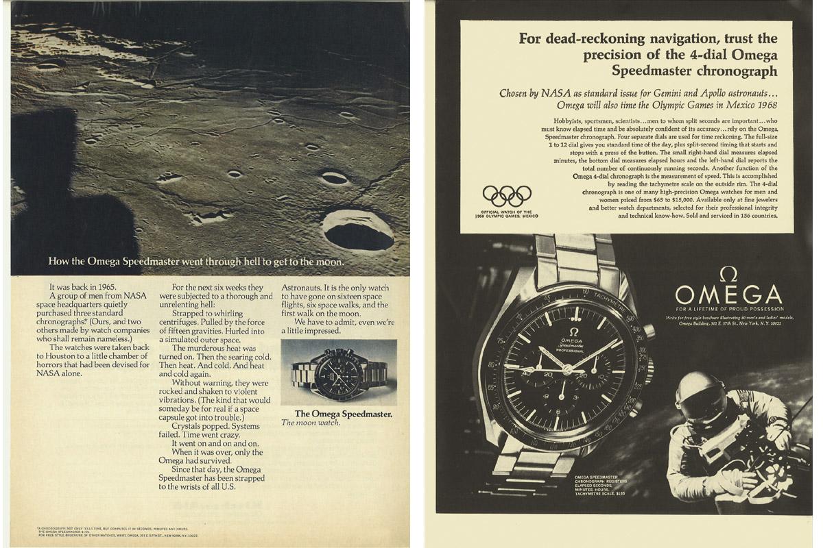 Lo Speedmaster in due vecchie pubblicità