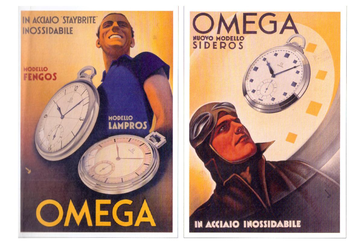 Modelli da tasca Omega in acciaio in due pubblicità anni 30