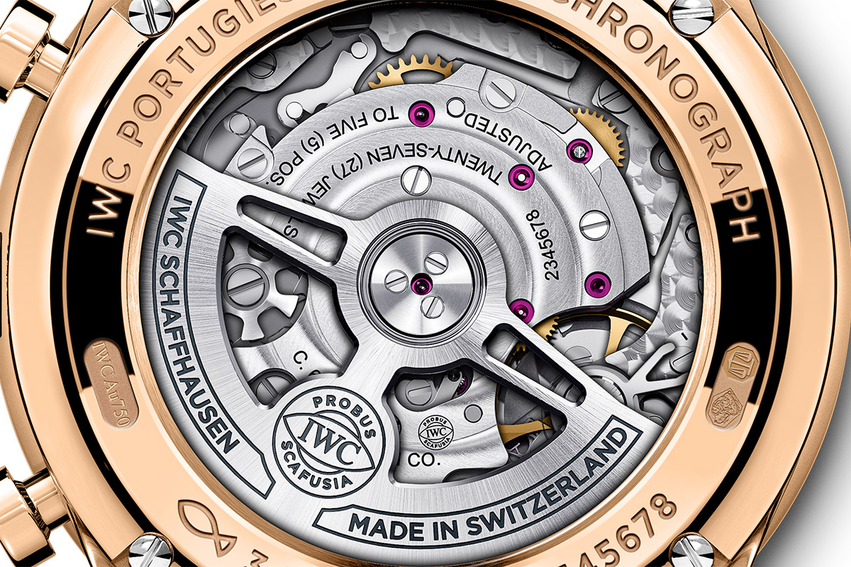 Il fondello del Portugieser Chronograph