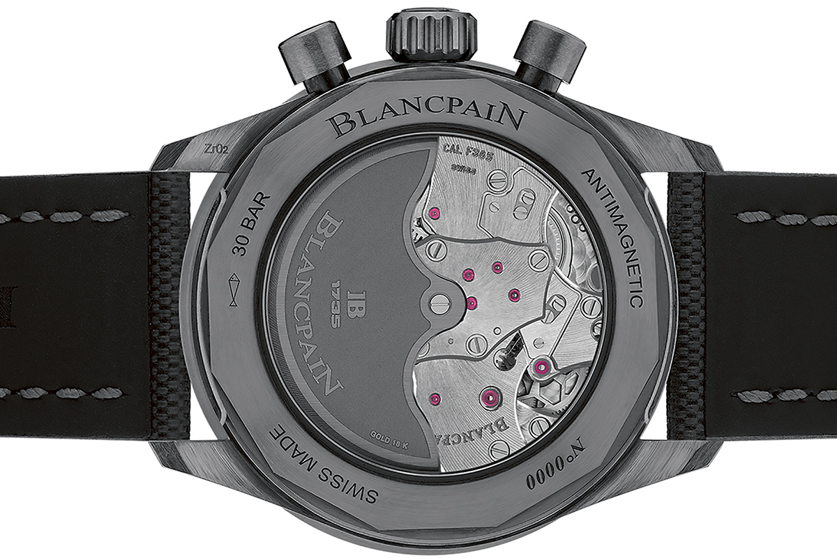 Il fondello del Blancpain Fifty Fathoms Bathyscaphe Chronographe Flyback