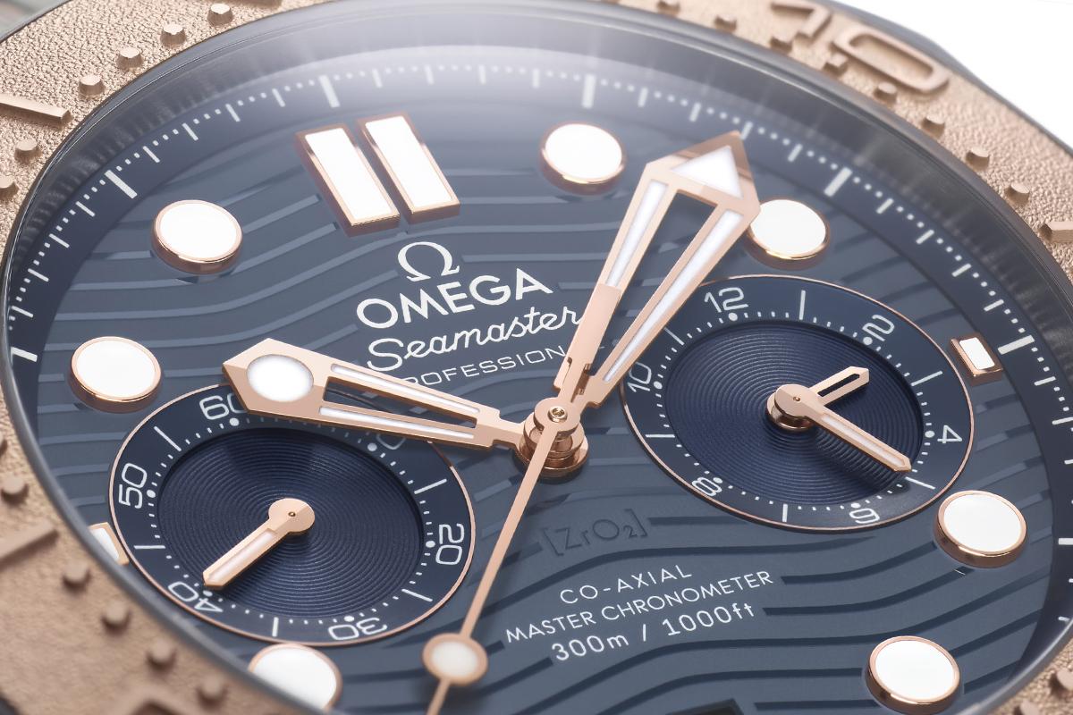 Il quadrante dell'Omega Seamaster Diver 300M Chronograph