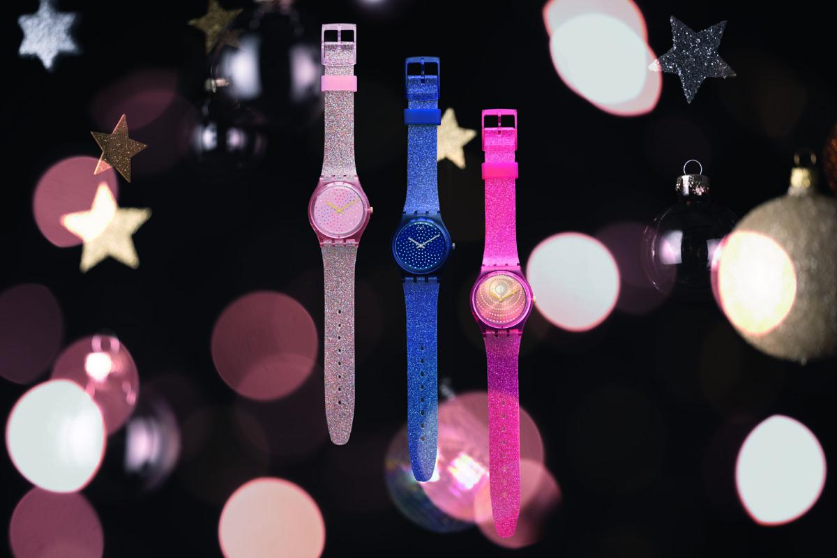 Tre modelli della Swatch Holiday Collection