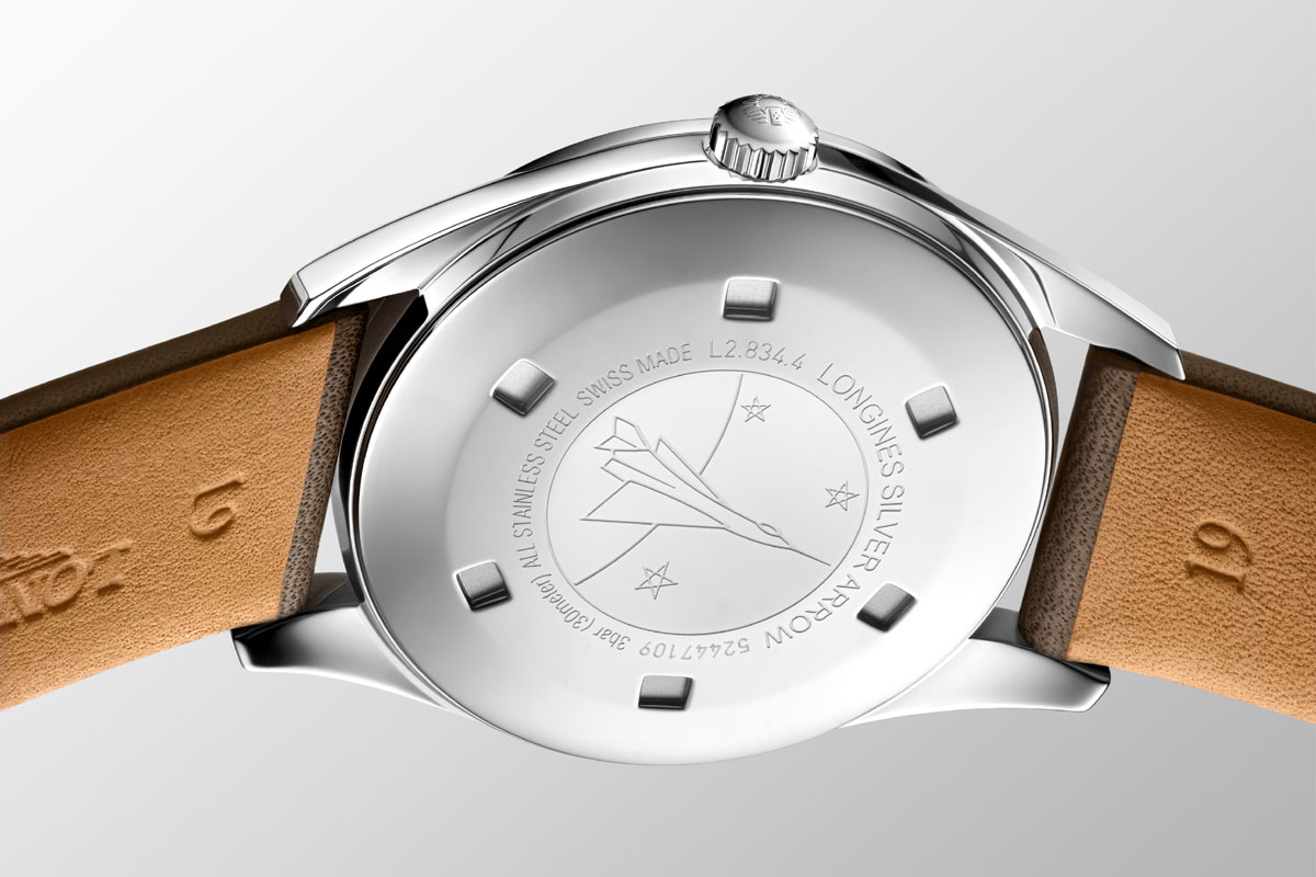 Il fondello del Longines Silver Arrow