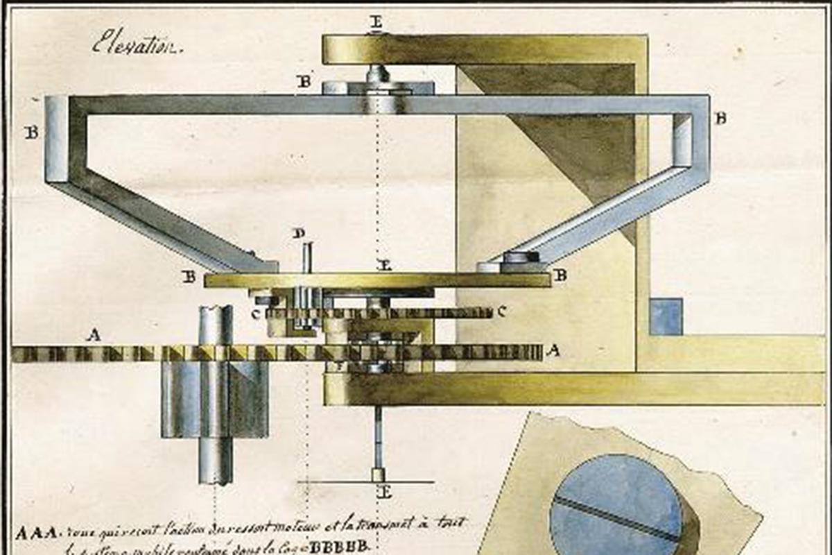 Il disegno originale del tourbillon di Breguet