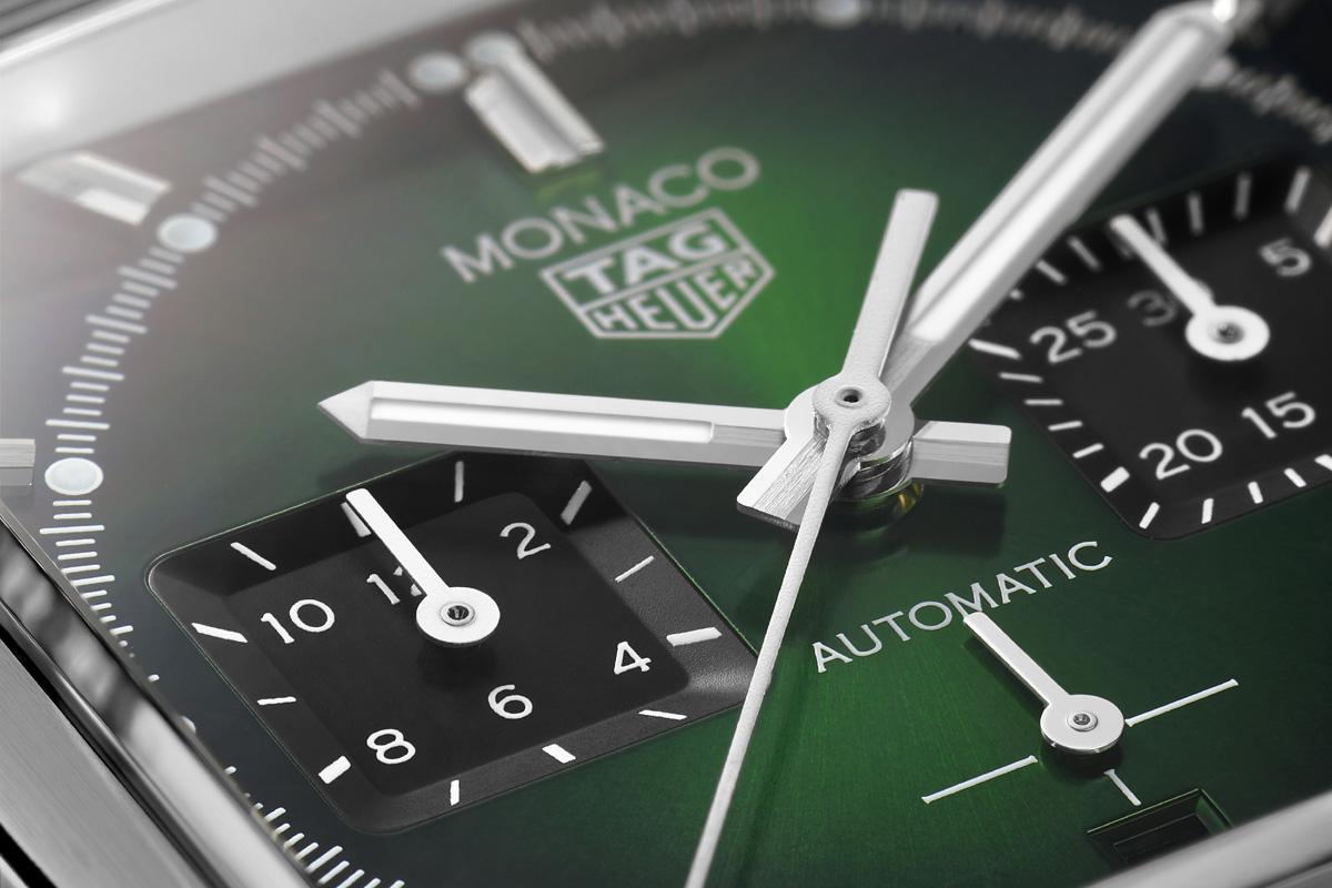 Il quadrante del TAG Heuer Monaco Green
