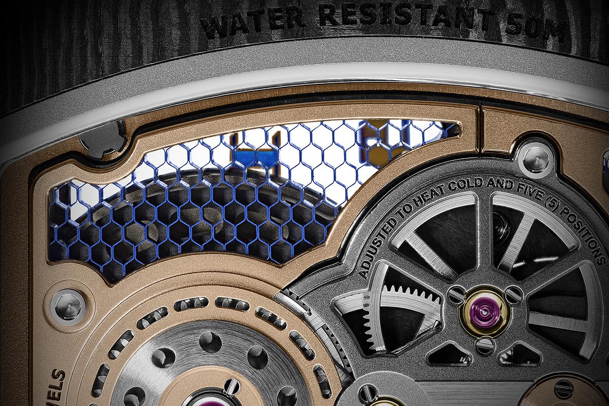 Dettaglio della platina dell'RM 21-01 Tourbillon Aerodyne