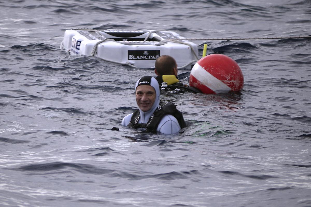 Gianluca Genoni a Zoagli dopo il record di -150 metri