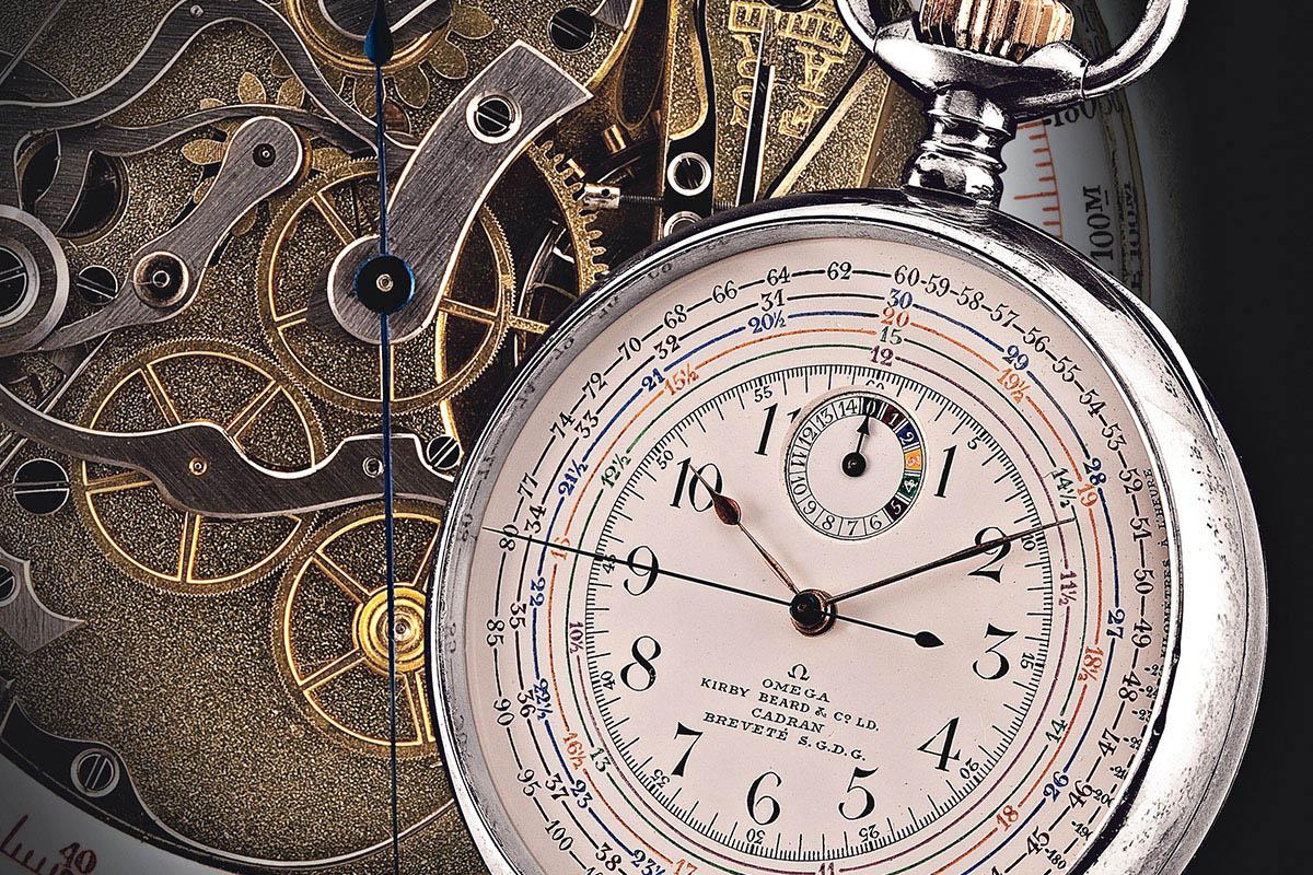Un cronotachimetro di Omega, uno dei primi strumenti per il cronometraggio sportivo