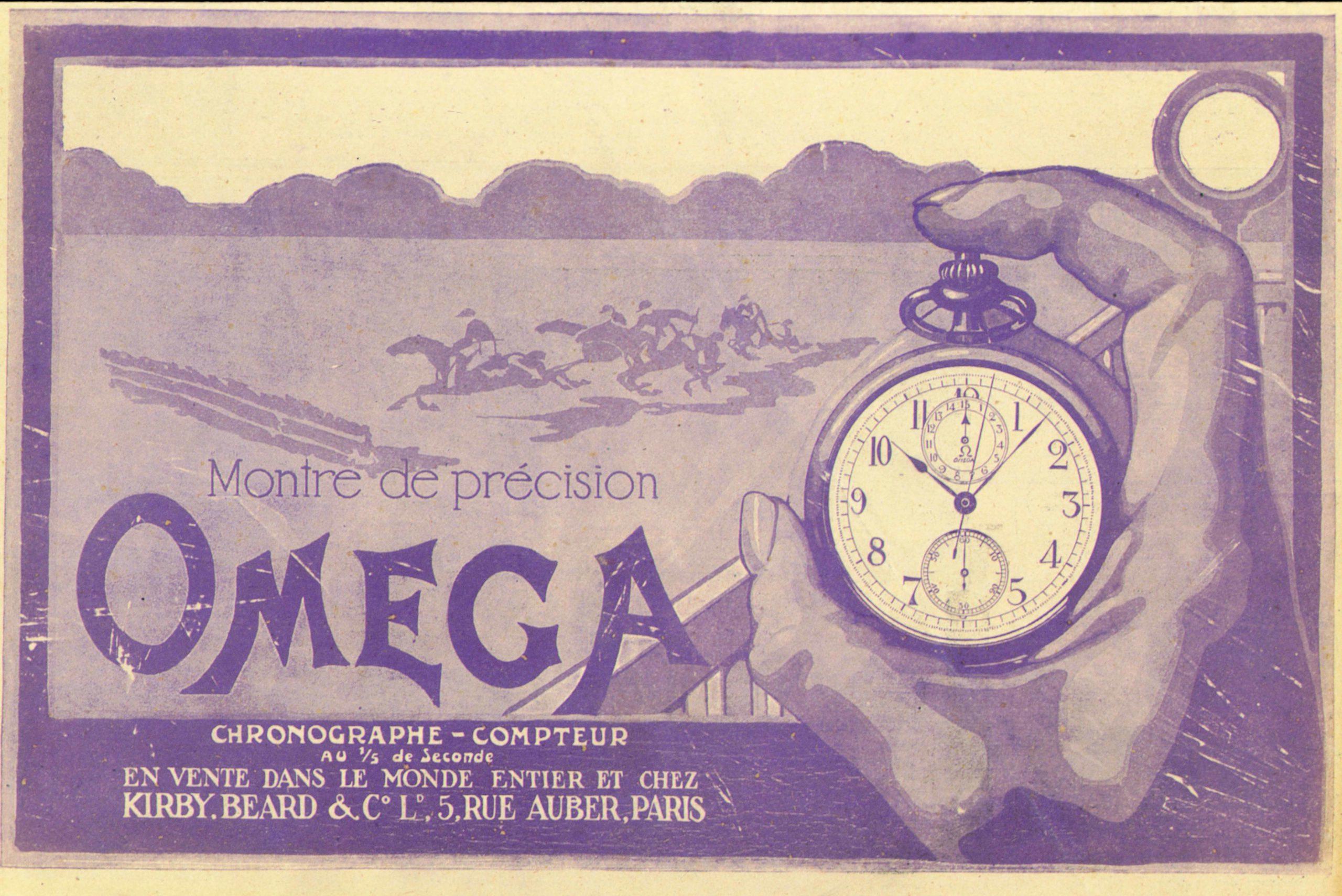 vecchia pubblicità del cronometraggio ippico Omega