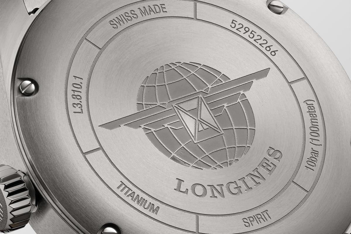 Il fondello del Longines Spirit in titanio
